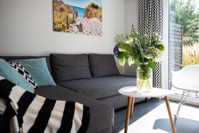 sofa rozkładana pokój dzienny widok na ogród